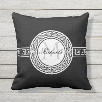 Elegant Black | White Greek Key Monogram Outdoor Cushion