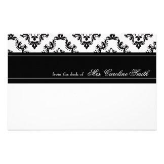 Elegant Black & White Lace Personalized Stationery Design