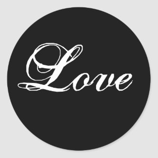 Elegant Black White Love Wedding Favour Stickers