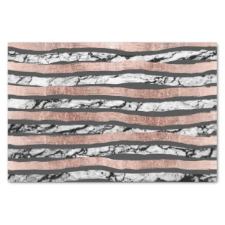 Elegant Black White Marble Rose Gold Brushstrokes Tissue Paper