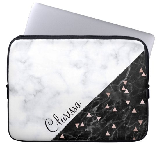 elegant black white marble rose gold geometric laptop