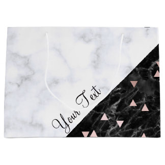 elegant black white marble rose gold geometric large gift bag