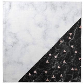 elegant black white marble rose gold geometric napkin