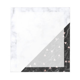 elegant black white marble rose gold geometric notepad