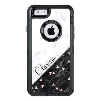 elegant black white marble rose gold geometric OtterBox defender iPhone case