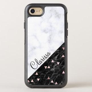 elegant black white marble rose gold geometric OtterBox symmetry iPhone 8/7 case