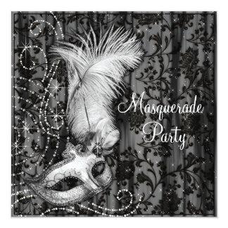 Elegant Black White Masquerade Party 13 Cm X 13 Cm Square Invitation Card