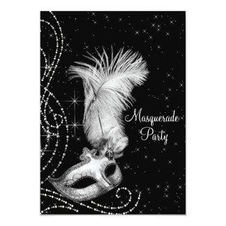 Elegant Black White Masquerade Party 13 Cm X 18 Cm Invitation Card