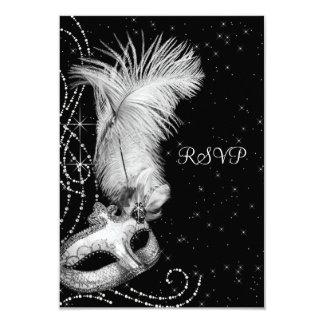 Elegant Black White Masquerade Party 9 Cm X 13 Cm Invitation Card