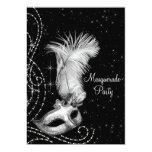 Elegant Black White Masquerade Party Personalised Invitations