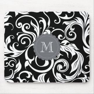 Elegant Black White Monogram Floral Wallpaper Mouse Mat