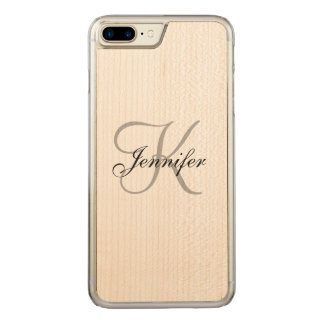 ELEGANT BLACK WHITE MONOGRAM NAME CARVED iPhone 8 PLUS/7 PLUS CASE