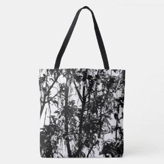Elegant Black White Organic Pattern Trees at Dawn Tote Bag