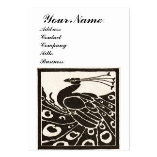 ELEGANT BLACK WHITE PEACOCK MONOGRAM PACK OF CHUBBY BUSINESS CARDS