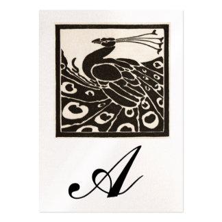 ELEGANT BLACK WHITE PEACOCK MONOGRAM Pearl Metal Business Cards