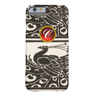 ELEGANT BLACK WHITE PEACOCK RED RUBY GEM MONOGRAM BARELY THERE iPhone 6 CASE