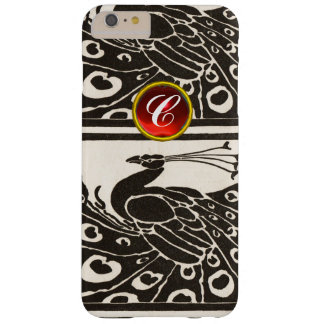 ELEGANT BLACK WHITE PEACOCK RED RUBY GEM MONOGRAM BARELY THERE iPhone 6 PLUS CASE
