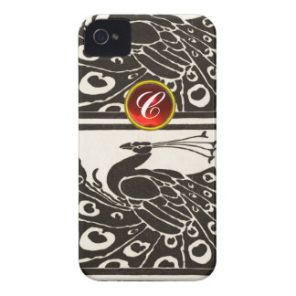 ELEGANT BLACK WHITE PEACOCK RED RUBY GEM MONOGRAM Case-Mate iPhone 4 CASES