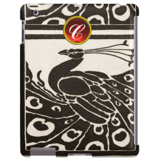 ELEGANT BLACK WHITE PEACOCK RED RUBY GEM MONOGRAM iPad CASE