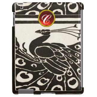 ELEGANT BLACK WHITE PEACOCK RED RUBY GEM MONOGRAM iPad CASE