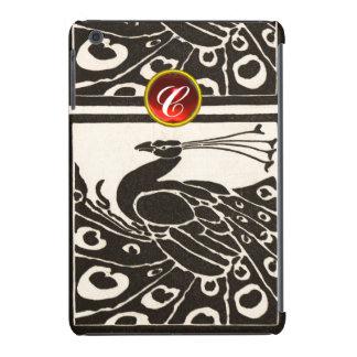 ELEGANT BLACK WHITE PEACOCK RED RUBY GEM MONOGRAM iPad MINI RETINA CASES