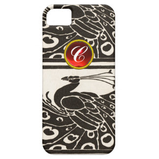 ELEGANT BLACK WHITE PEACOCK RED RUBY GEM MONOGRAM iPhone 5 COVERS