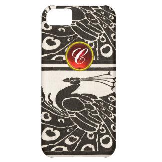 ELEGANT BLACK WHITE PEACOCK RED RUBY GEM MONOGRAM iPhone 5C CASE