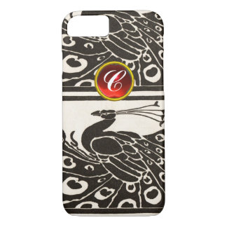 ELEGANT BLACK WHITE PEACOCK RED RUBY GEM MONOGRAM iPhone 7 CASE