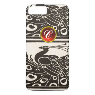 ELEGANT BLACK WHITE PEACOCK RED RUBY GEM MONOGRAM iPhone 7 PLUS CASE