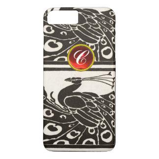 ELEGANT BLACK WHITE PEACOCK RED RUBY GEM MONOGRAM iPhone 7 PLUS CASE