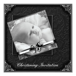 Elegant Black White Photo Christening 13 Cm X 13 Cm Square Invitation Card