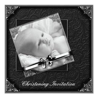 Elegant Black White Photo Christening Card