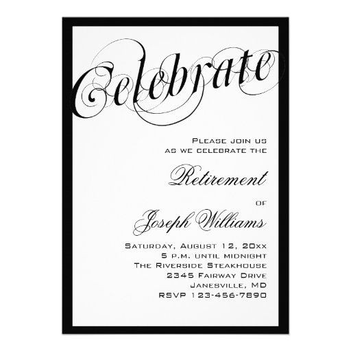 Elegant Black & White Retirement Party Invitations