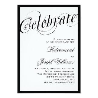 "Elegant Black & White Retirement Party Invitations 5"" X 7"" Invitation Card"