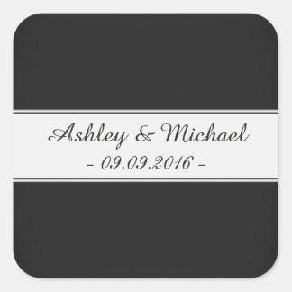Elegant Black & White Save the Date Square Sticker
