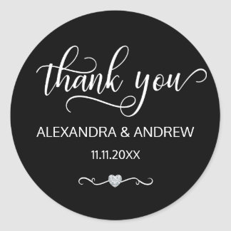 Elegant Black White Script Wedding Thank You Classic Round Sticker