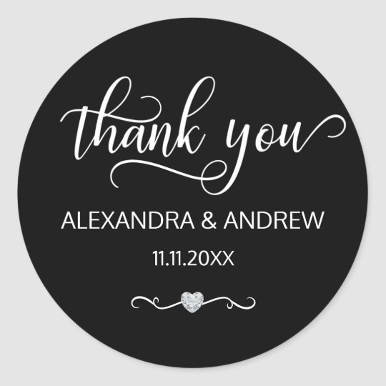 Elegant Black White Script Wedding Thank You Classic
