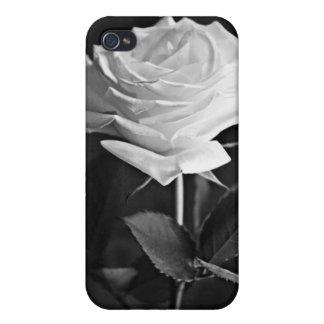 Elegant Black & White Single Rose i Case For iPhone 4