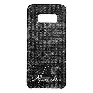 Elegant Black & White Sparkling Stars Monogram Case-Mate Samsung Galaxy S8 Case