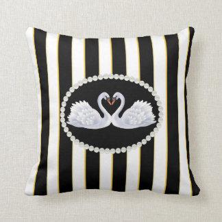 Elegant Black, White Striped Pearls & Swans Pillow