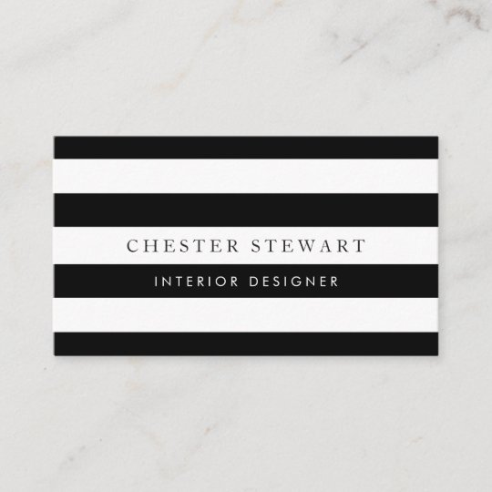 1bf58b6d18062 Elegant Black White Striped - Simple Minimalist Business Card ...