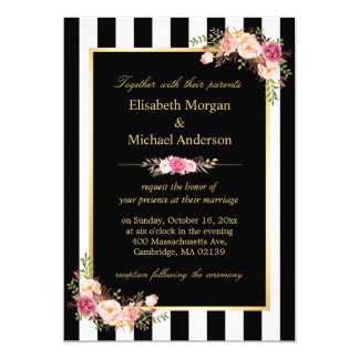 Elegant Black White Stripes Gold Floral Wedding Card