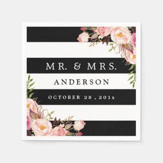 Elegant Black White Stripes Pink Floral Wedding Disposable Serviettes