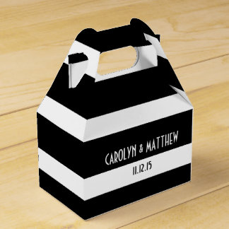 Elegant Black White Stripes Wedding Party Favour Box