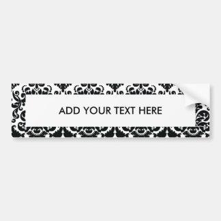 Elegant Black White Vintage Damask Pattern Bumper Sticker