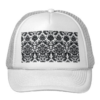 Elegant Black White Vintage Damask Pattern Trucker Hats