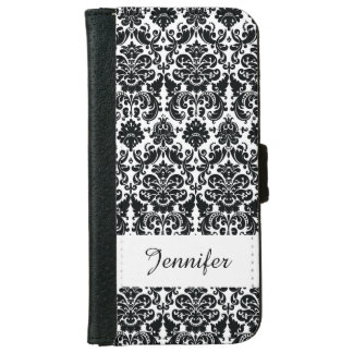Elegant Black White Vintage Damask Pattern iPhone 6 Wallet Case