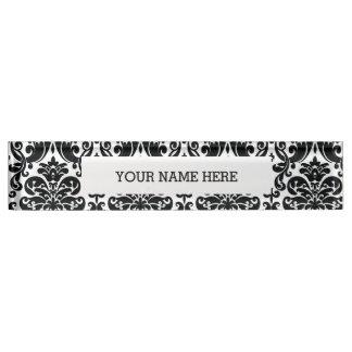 Elegant Black White Vintage Damask Pattern Name Plate