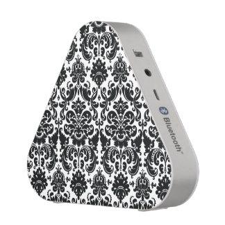 Elegant Black White Vintage Damask Pattern Bluetooth Speaker