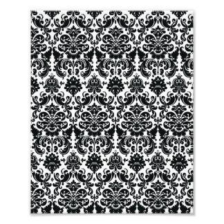 Elegant Black White Vintage Damask Pattern Photo Art